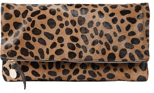 claire vivier foldover leopard clutch