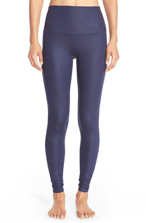 Alo glossy navy blue leggins