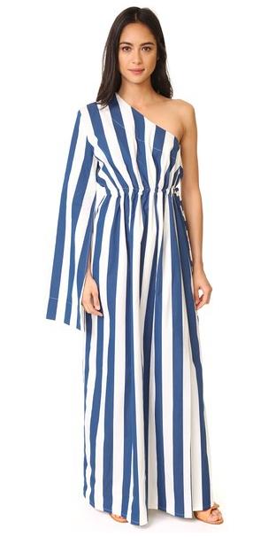 one-shoulder long striped dress